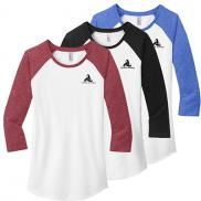 promotional district ® women's fitted very important tee ® 3/4-sleeve raglan