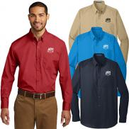 promotional port authority® long sleeve carefree poplin shirt
