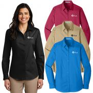 promotional port authority® ladies long sleeve carefree poplin shirt