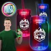 promotional 20 oz. multi color led mason jar
