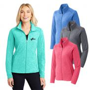 promotional port authority® ladies heather microfleece full-zip jacket