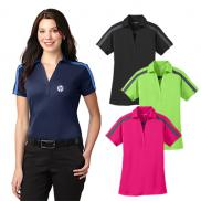 promotional port authority® ladies silk touch™ performance colorblock stripe polo