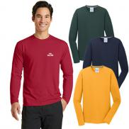 promotional port & company® long sleeve performance blend tee (color)