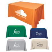 promotional flat 3-sided table cover - fits 4 foot standard table