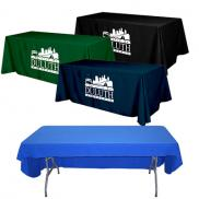 promotional flat 3-sided table cover - fits 8 foot standard table