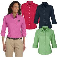 promotional devon & jones ladies perfect fit™ 3/4-sleeve shirt
