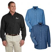 promotional harriton mens 6.5 oz. long-sleeve denim shirt