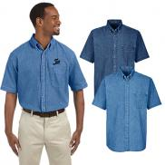 promotional harriton mens 6.5 oz. short-sleeve denim shirt