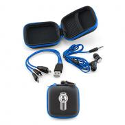 promotional earbuds/charging cable gift set - blue