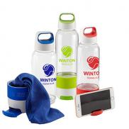 promotional 17 oz. hydra chill water bottle w/cooling towel