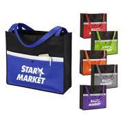 promotional corridor snap non-woven pocket tote