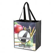 "promotional 12"" x 13"" glossy lamination grocery shopping tote bags"