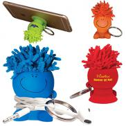 promotional moptoppers® mobile stand cord winder key chain