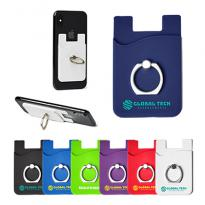 30930 - Silicone Card Holder with Metal Ring Phone Stand