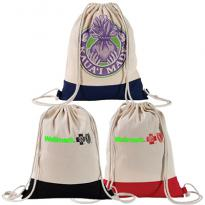 31068 - Full Color Two Tone Natural Drawstring Backpack