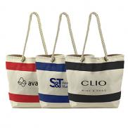 promotional striped canvas tote