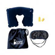 promotional travel pillow kit w/ear plugs & eye mask