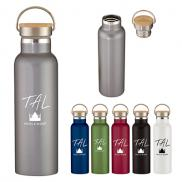 promotional 21 oz. stainless steel liberty bottle w/ wood lid