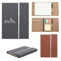 "31266 - 5"" X 7"" Woodgrain Padfolio With Sticky Notes And Flags"