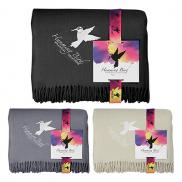 promotional acrylic throw blanket with full color card