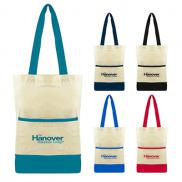 promotional color accent cotton pocket tote