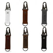 promotional busker leather keychain with antique nickel carabiner