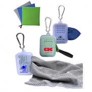 promotional 2-tone cool towel with carabiner case