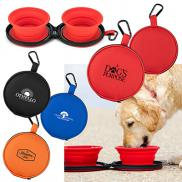 promotional mocha collapsible pet bowls with case