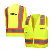 promotional hi vis lime class 2 surveyor zipper vest