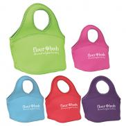 promotional easy carry zippered neoprene lunch bag