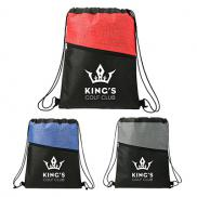 promotional cross weave zippered drawstring bag