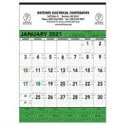 promotional green and black memo calendar