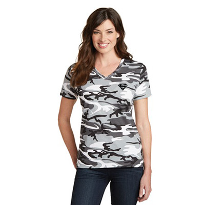 Ladies V-Neck Camo T-Shirt
