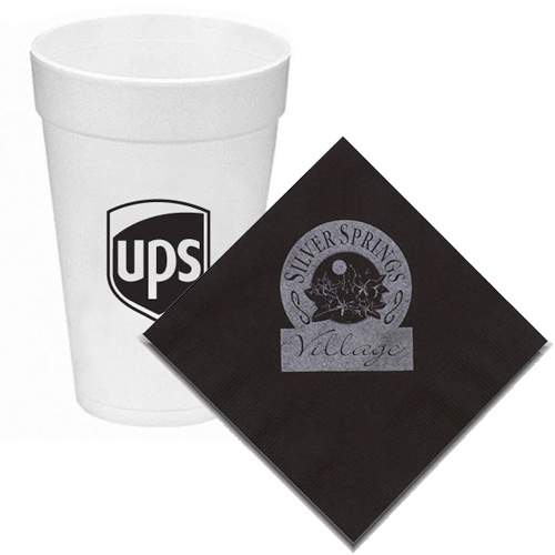 promotional napkins, plates & disposable cups