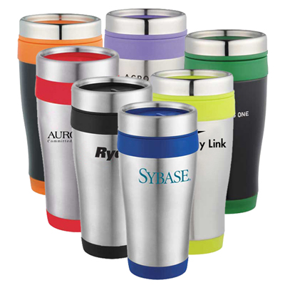 promotional free 24 hour rush stainless travel mugs