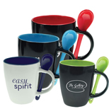 Promotional Bistro Mug with Spoon, Custom Coffee Tumblers