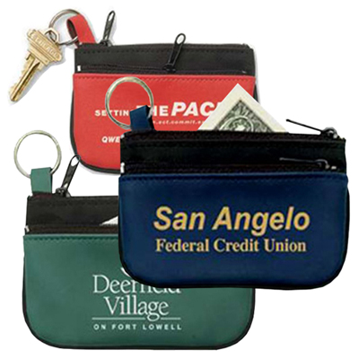 double pocket coin & key zippered pouch