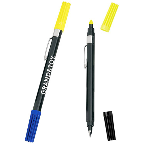 double exposure highlighter & ballpoint pen combo - black