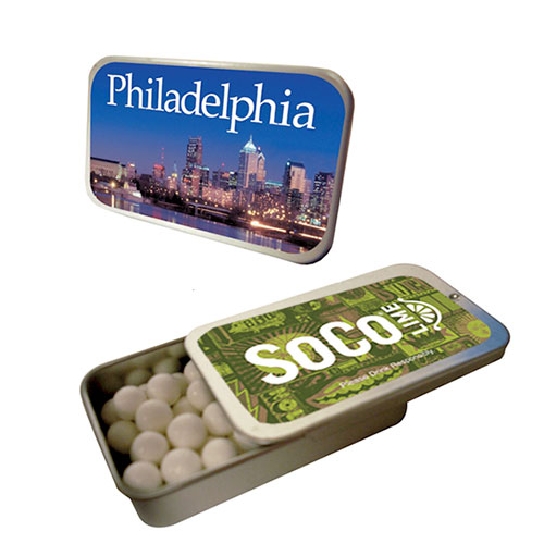 slider tin with signature peppermints