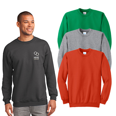 port & company® - essential fleece crewneck sweatshirt (color)