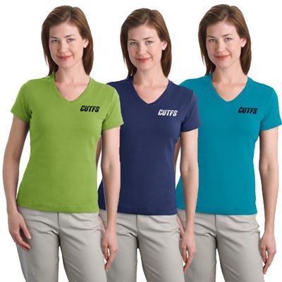 port authority ladies stretch v-neck shirt