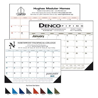 desk pad calendar - vinyl corners