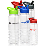 Promotional 24 Oz. Colored Cap - Logo 24 Oz. Cap and Straw Plastic Water Bottles