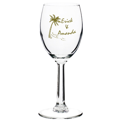 6.5 oz Etched Wine Glasses (Clear)