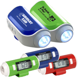 Flashlight And Siren Pedometer, Safety Pedometers