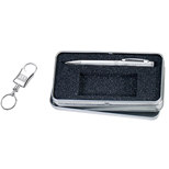 18385 - Silver Ballpoint with Keyring Gift Set