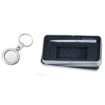 Silver Ballpoint With Round Keyring Gift Set