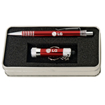 18387 - Red Ballpoint With Flashlight Gift Set