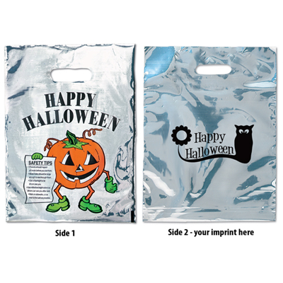 silver reflective halloween pumpkin bag