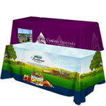 Trade Show Table Covers - Promotional 8 ft Flat Three Sided Table Cover - Dye Sub Full Color